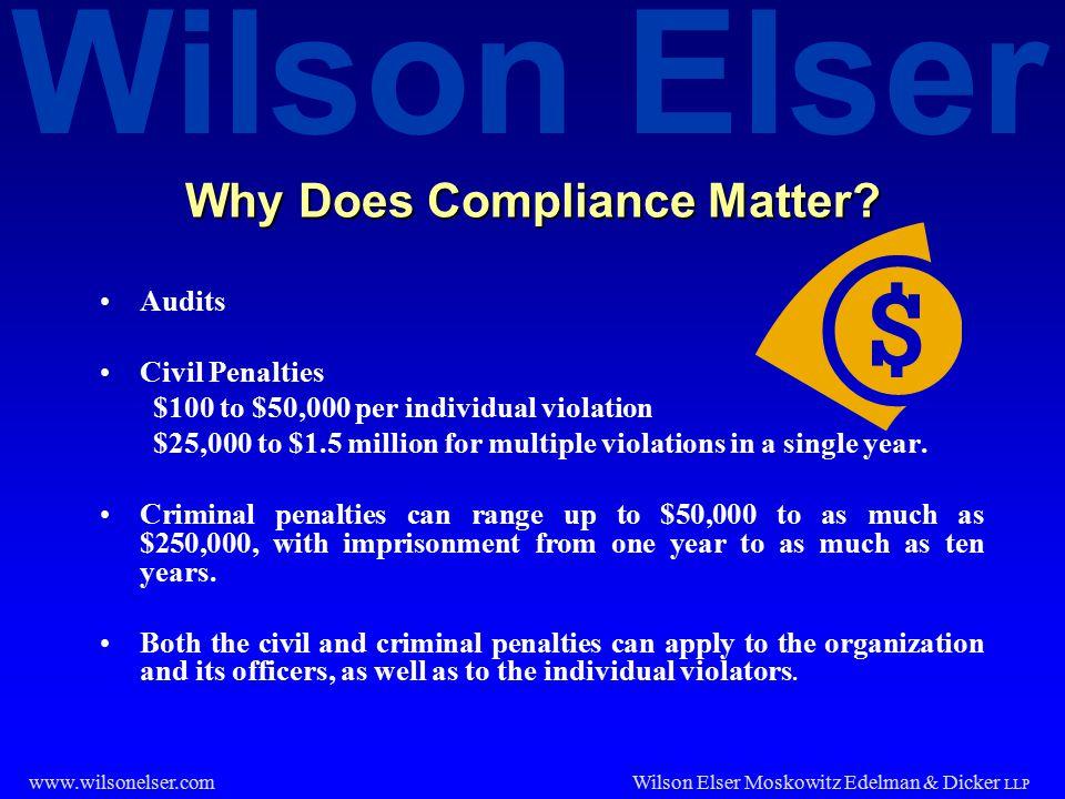 Wilson Elser Wilson Elser Moskowitz Edelman & Dicker LLP www.wilsonelser.com Why Does Compliance Matter.