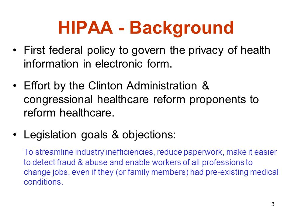 4 HIPAA - Background Major issue in HIPAA Information Security requirements – No standard process to determine HIPAA compliance.