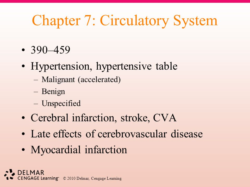 © 2010 Delmar, Cengage Learning Chapter 7: Circulatory System 390–459 Hypertension, hypertensive table –Malignant (accelerated) –Benign –Unspecified C
