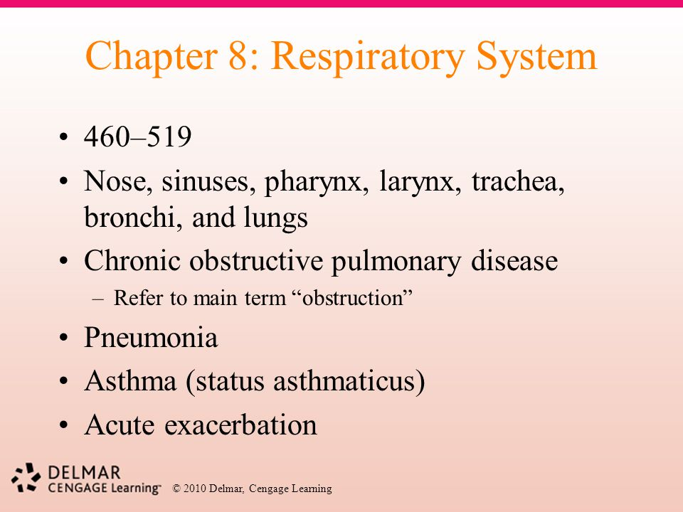 © 2010 Delmar, Cengage Learning Chapter 8: Respiratory System 460–519 Nose, sinuses, pharynx, larynx, trachea, bronchi, and lungs Chronic obstructive