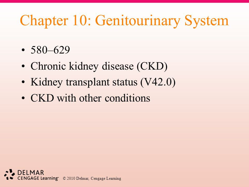 © 2010 Delmar, Cengage Learning Chapter 10: Genitourinary System 580–629 Chronic kidney disease (CKD) Kidney transplant status (V42.0) CKD with other