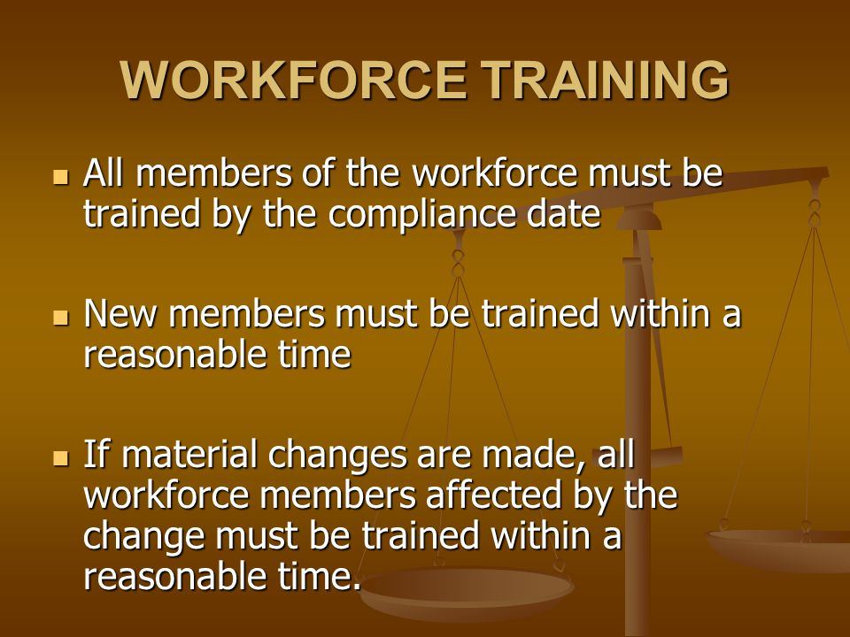 WORKFORCE TRAINING All members of the workforce must be trained by the compliance date All members of the workforce must be trained by the compliance date New members must be trained within a reasonable time New members must be trained within a reasonable time If material changes are made, all workforce members affected by the change must be trained within a reasonable time.