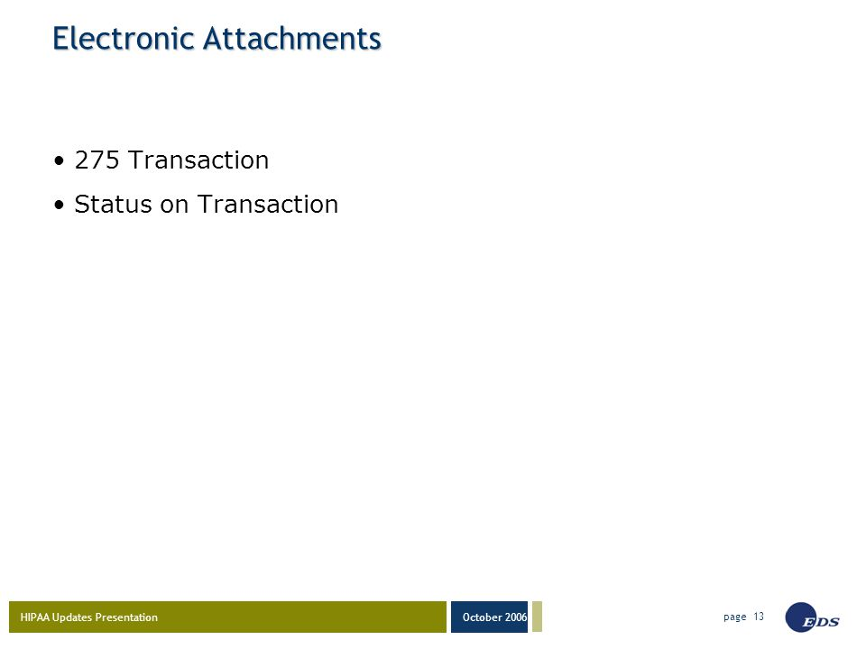 HIPAA Updates Presentation October 2006 page 13 Electronic Attachments 275 Transaction Status on Transaction