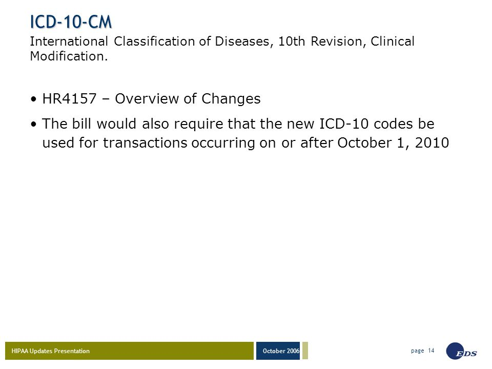 HIPAA Updates Presentation October 2006 page 14 ICD-10-CM HR4157 – Overview of Changes The bill would also require that the new ICD-10 codes be used for transactions occurring on or after October 1, 2010 International Classification of Diseases, 10th Revision, Clinical Modification.