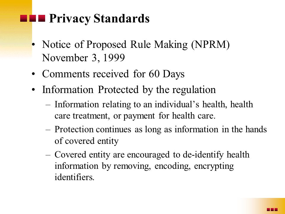 Privacy Standards Notice of Proposed Rule Making (NPRM) November 3, 1999 Comments received for 60 Days Information Protected by the regulation –Inform