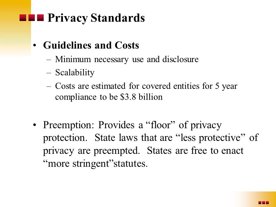 Privacy Standards Guidelines and Costs –Minimum necessary use and disclosure –Scalability –Costs are estimated for covered entities for 5 year complia