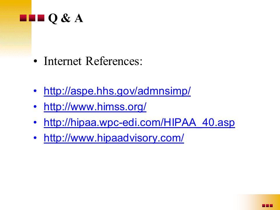 Q & A Internet References: http://aspe.hhs.gov/admnsimp/ http://www.himss.org/ http://hipaa.wpc-edi.com/HIPAA_40.asp http://www.hipaadvisory.com/