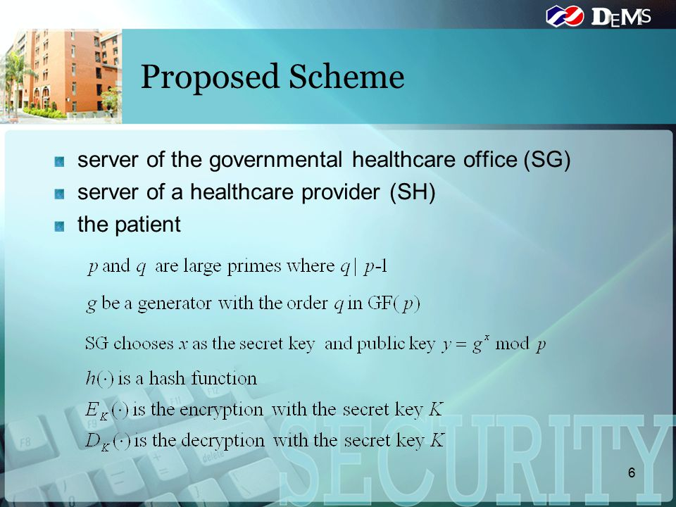 Proposed Scheme server of the governmental healthcare office (SG) server of a healthcare provider (SH) the patient 6