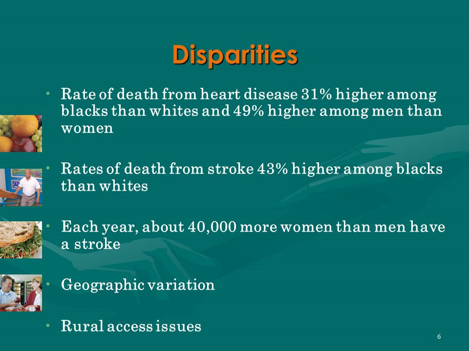 6 Disparities Rate of death from heart disease 31% higher among blacks than whites and 49% higher among men than women Rates of death from stroke 43% higher among blacks than whites Each year, about 40,000 more women than men have a stroke Geographic variation Rural access issues