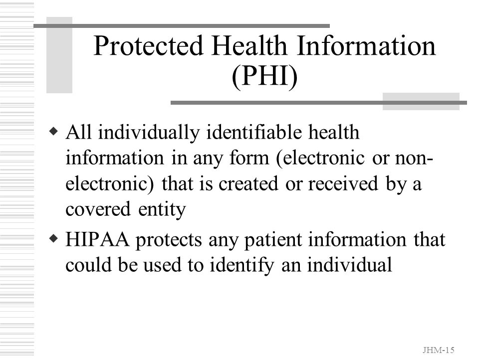 JHM-14 Identifiable Health Information ...