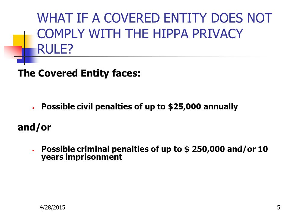 4/28/20155 WHAT IF A COVERED ENTITY DOES NOT COMPLY WITH THE HIPPA PRIVACY RULE? The Covered Entity faces: Possible civil penalties of up to $25,000 a