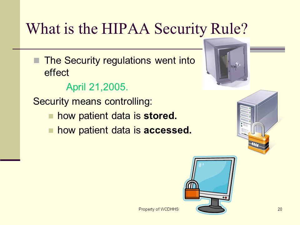 Property of WCDHHS20 What is the HIPAA Security Rule.