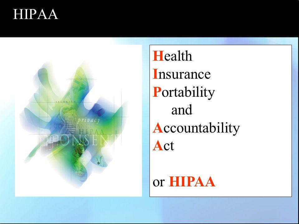 HIPAA Health Insurance Portability and Accountability Act or HIPAA
