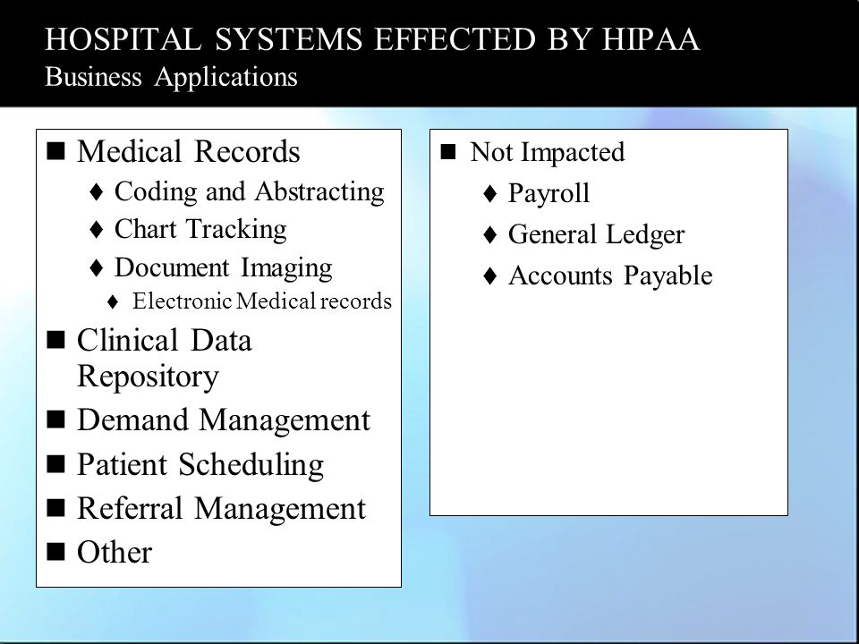 HOSPITAL SYSTEMS EFFECTED BY HIPAA Business Applications Medical Records  Coding and Abstracting  Chart Tracking  Document Imaging  Electronic Medical records Clinical Data Repository Demand Management Patient Scheduling Referral Management Other Not Impacted  Payroll  General Ledger  Accounts Payable