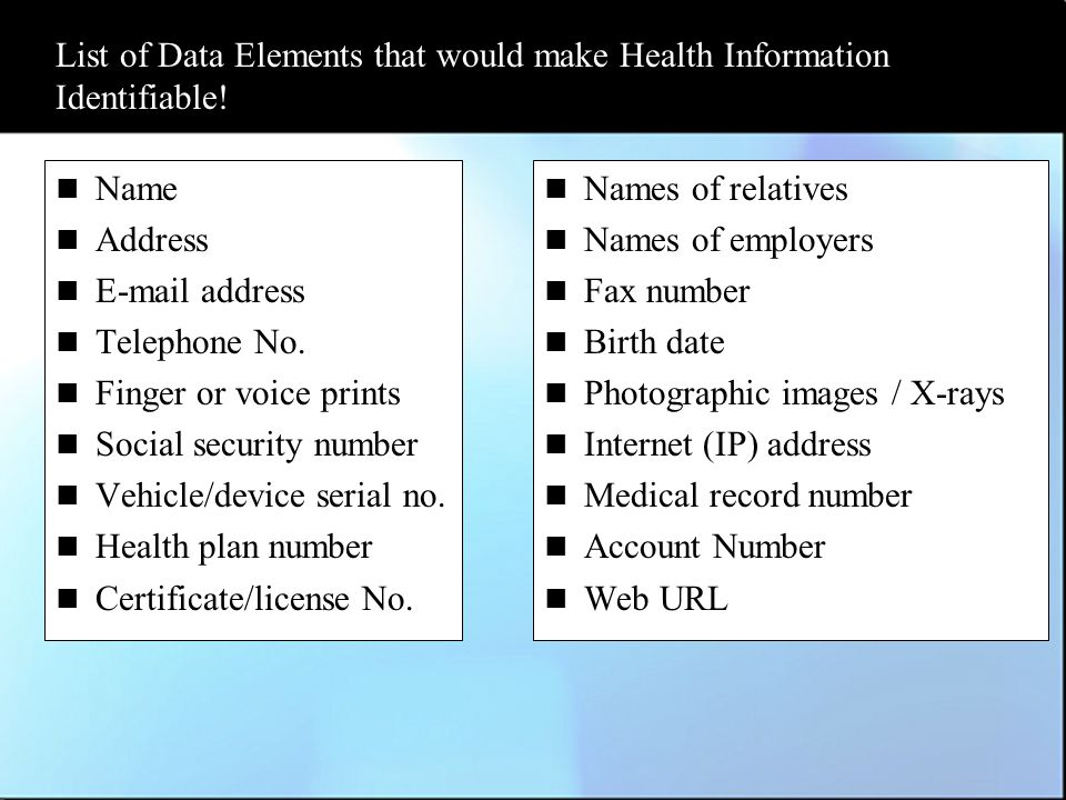 List of Data Elements that would make Health Information Identifiable.