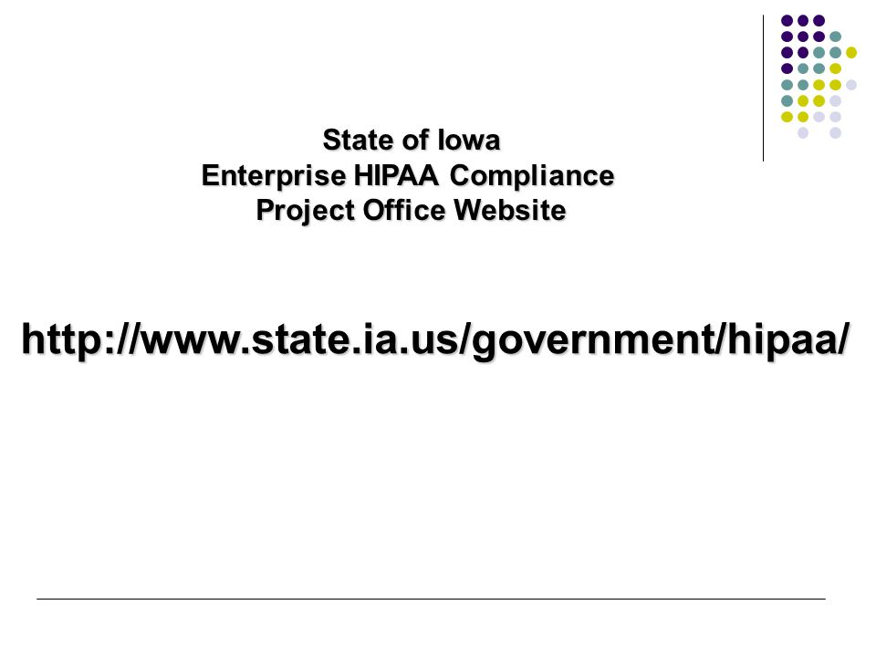 State of Iowa Enterprise HIPAA Compliance Project Office Website http://www.state.ia.us/government/hipaa/