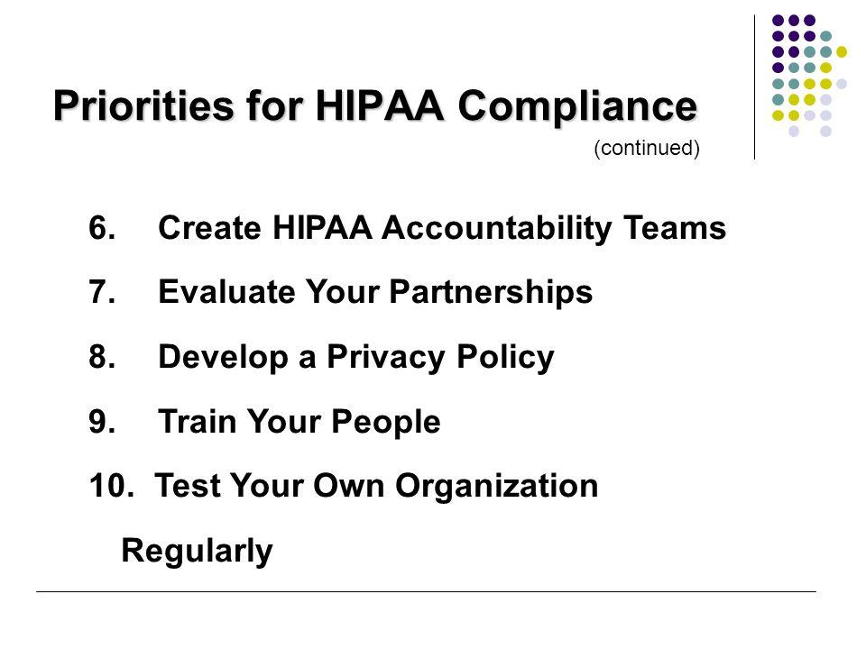 (continued) 6. Create HIPAA Accountability Teams 7.