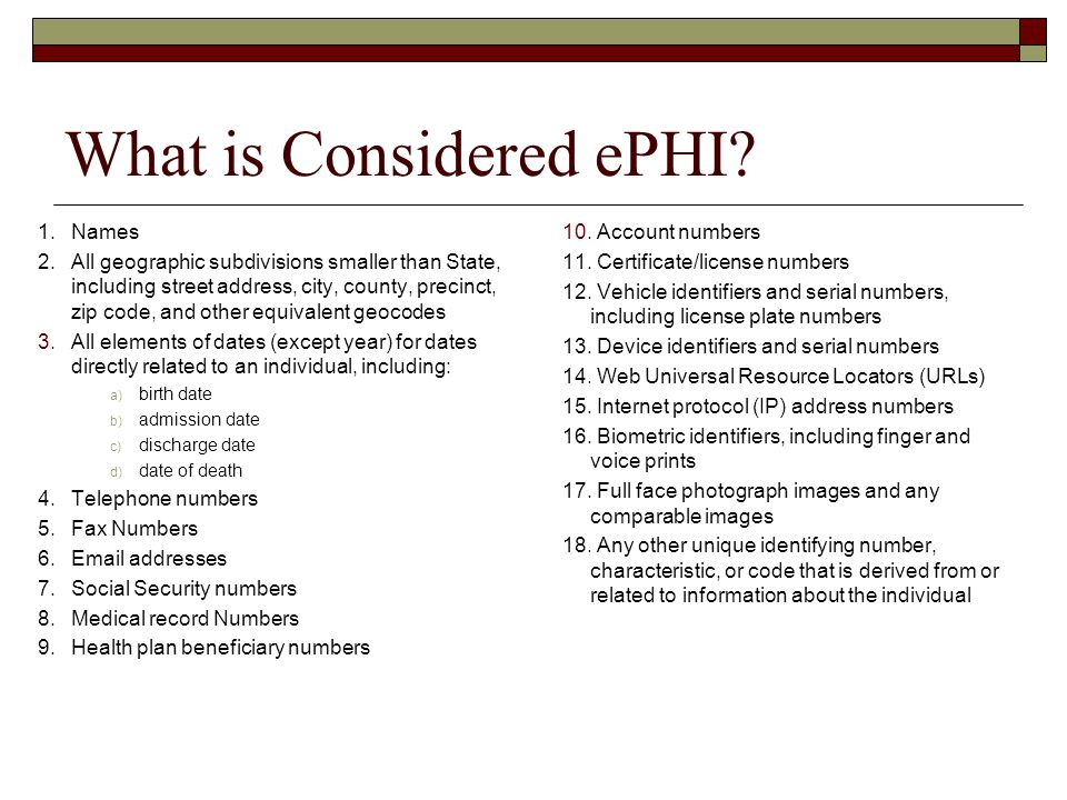 What is Considered ePHI.