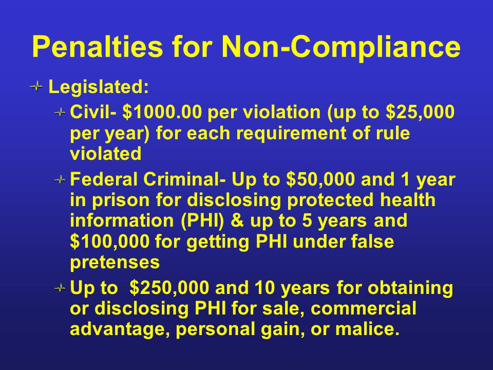 Penalties for Non-Compliance Legislated: Civil- $1000.00 per violation (up to $25,000 per year) for each requirement of rule violated Federal Criminal