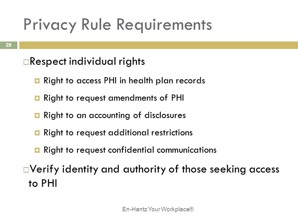 28 Privacy Rule Requirements  Respect individual rights  Right to access PHI in health plan records  Right to request amendments of PHI  Right to