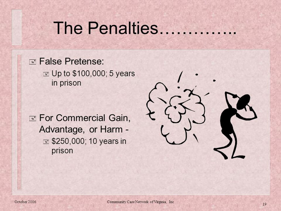 October 2006Community Care Network of Virginia, Inc 19 The Penalties…………..