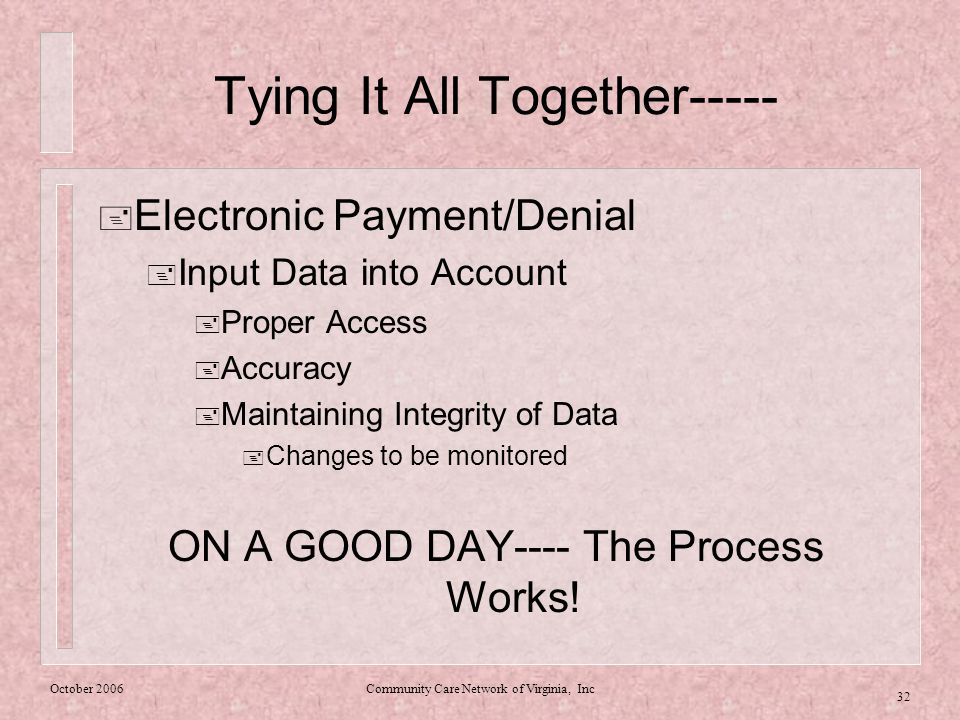 October 2006Community Care Network of Virginia, Inc 32 Tying It All Together-----  Electronic Payment/Denial  Input Data into Account  Proper Access  Accuracy  Maintaining Integrity of Data  Changes to be monitored ON A GOOD DAY---- The Process Works!