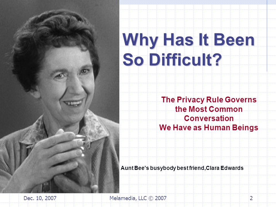 Dec.10, 2007Melamedia, LLC © 20073 Key Moments in the History of HIPAA Privacy Rule August 1996.