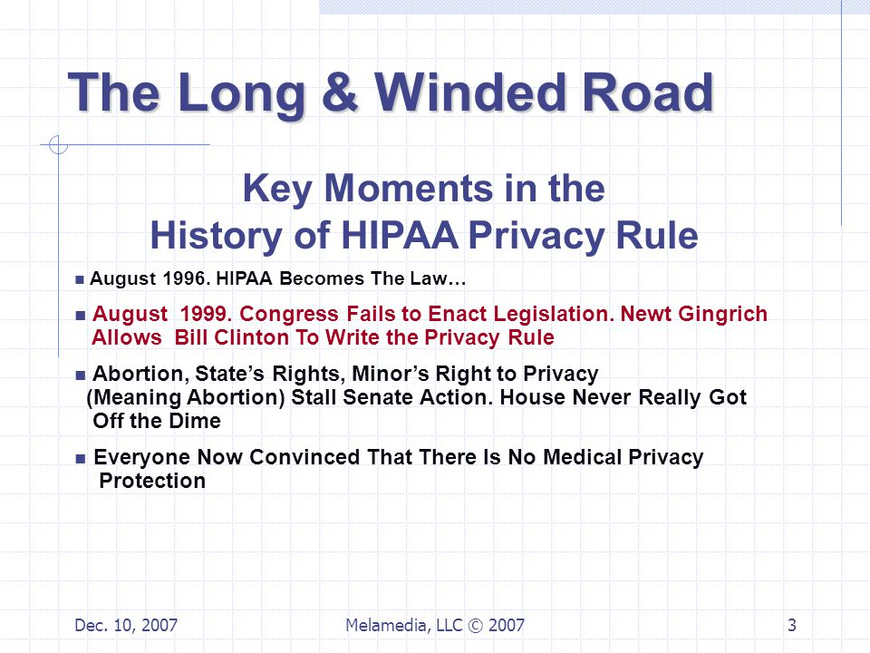 Dec. 10, 2007Melamedia, LLC © 20073 Key Moments in the History of HIPAA Privacy Rule August 1996.