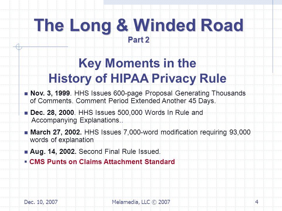 Dec. 10, 2007Melamedia, LLC © 20074 Key Moments in the History of HIPAA Privacy Rule Nov.