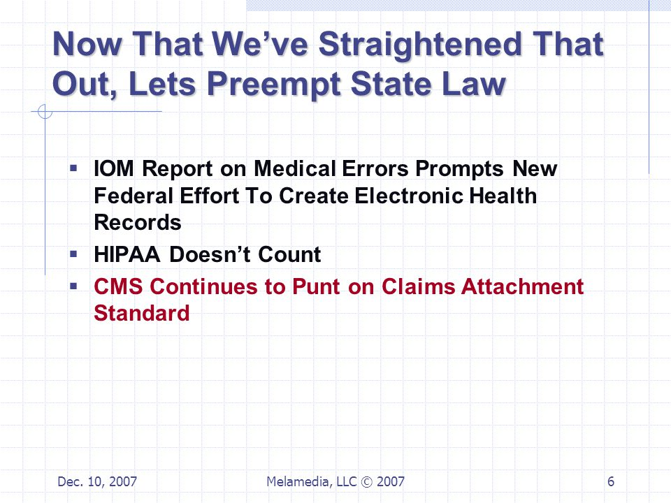 Dec. 10, 2007Melamedia, LLC © 20076 Now That We've Straightened That Out, Lets Preempt State Law  IOM Report on Medical Errors Prompts New Federal Ef