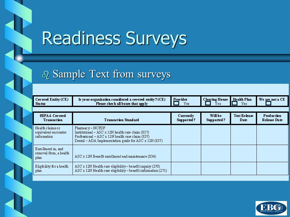 Readiness Surveys b Sample Text from surveys