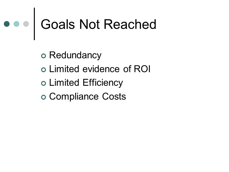 Goals Not Reached Redundancy Limited evidence of ROI Limited Efficiency Compliance Costs