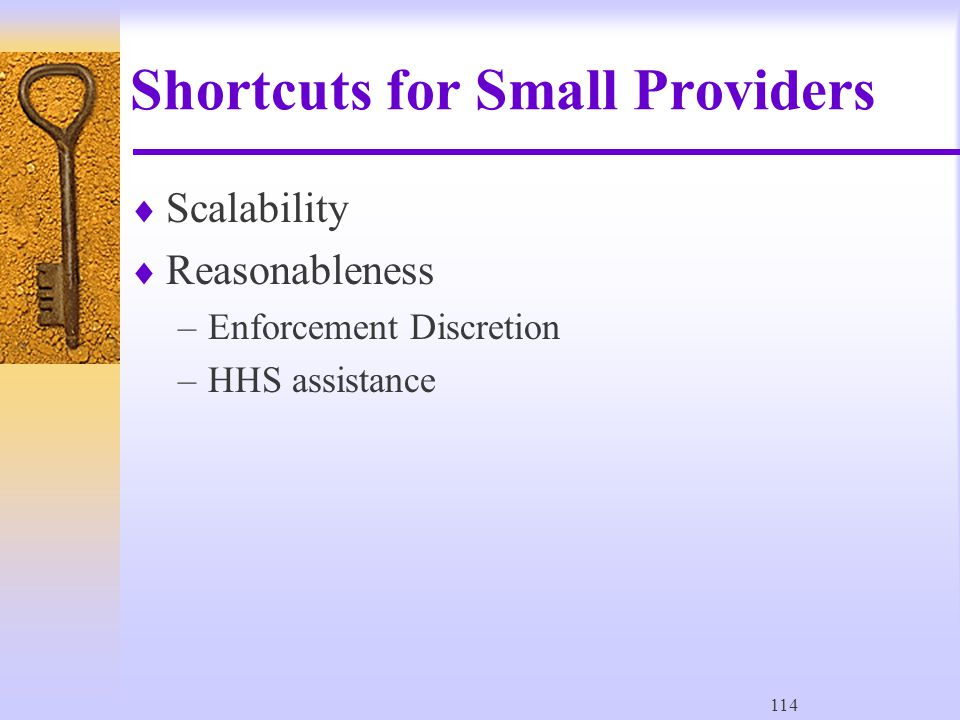 114 Shortcuts for Small Providers  Scalability  Reasonableness –Enforcement Discretion –HHS assistance