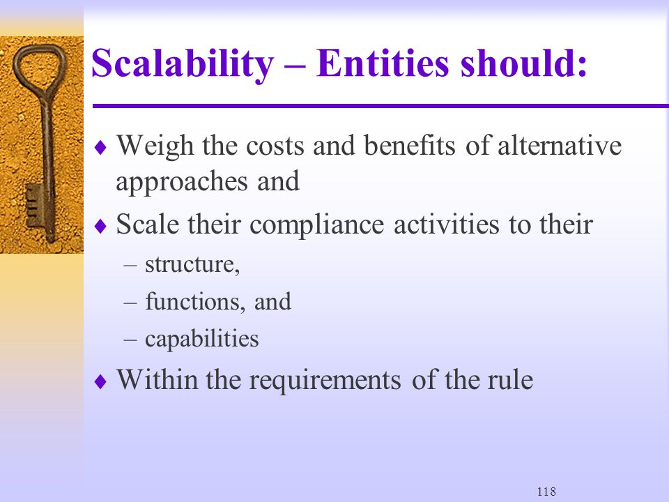 118 Scalability – Entities should:  Weigh the costs and benefits of alternative approaches and  Scale their compliance activities to their –structure, –functions, and –capabilities  Within the requirements of the rule