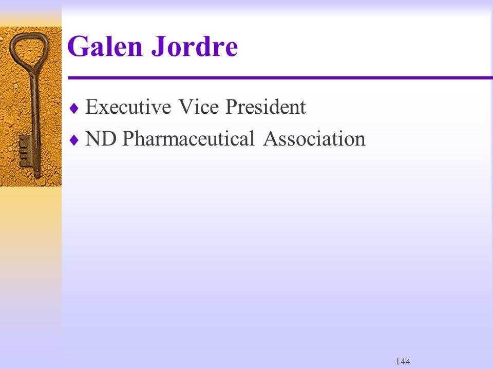 144 Galen Jordre  Executive Vice President  ND Pharmaceutical Association