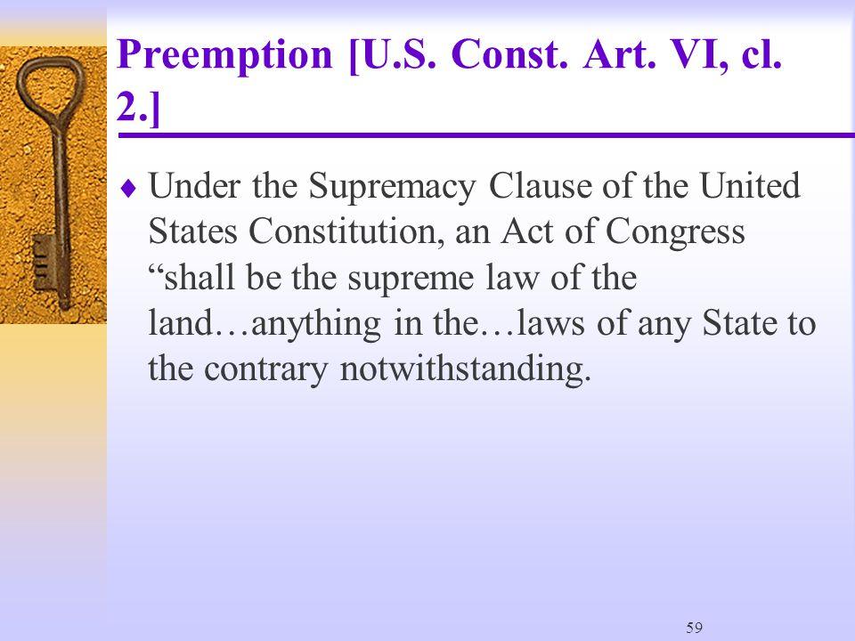59 Preemption [U.S. Const. Art. VI, cl.