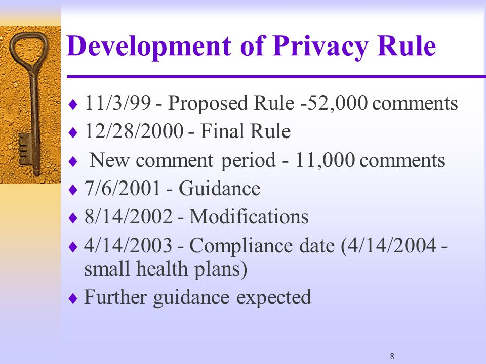 119 Purpose #1 of P & P  Comply with HIPAA Regulations (164.530(I)(1) –(i)(1) Standard: policies and procedures.