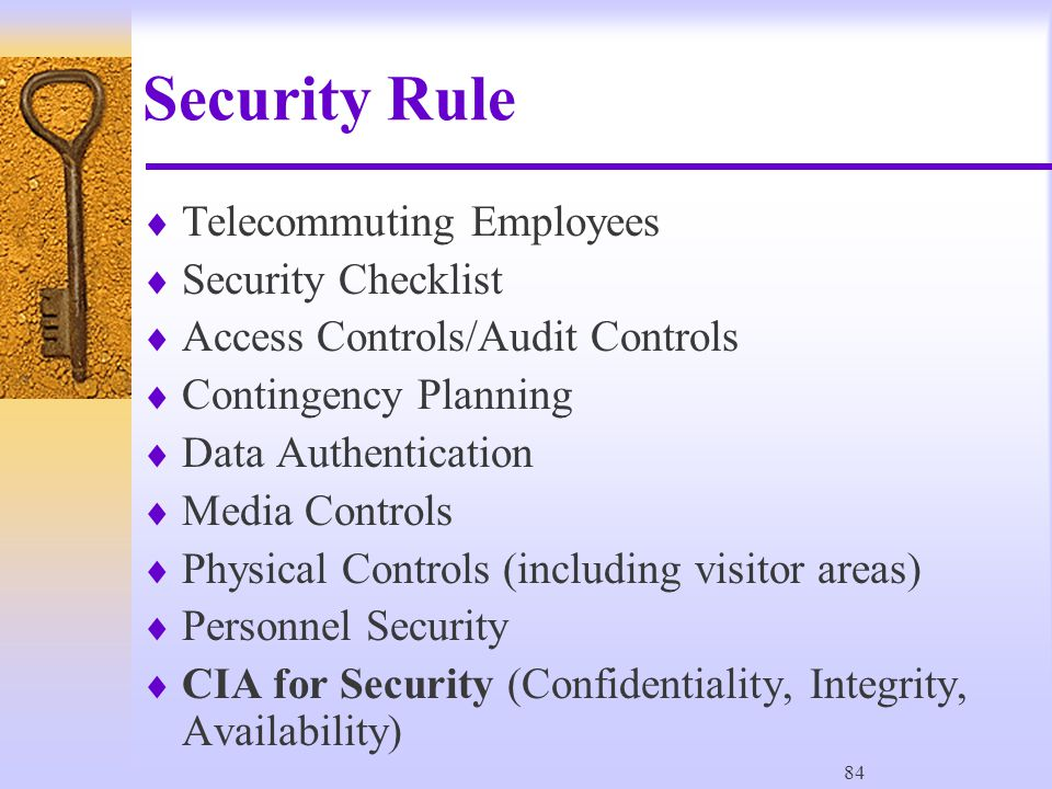 84 Security Rule  Telecommuting Employees  Security Checklist  Access Controls/Audit Controls  Contingency Planning  Data Authentication  Media Controls  Physical Controls (including visitor areas)  Personnel Security  CIA for Security (Confidentiality, Integrity, Availability)