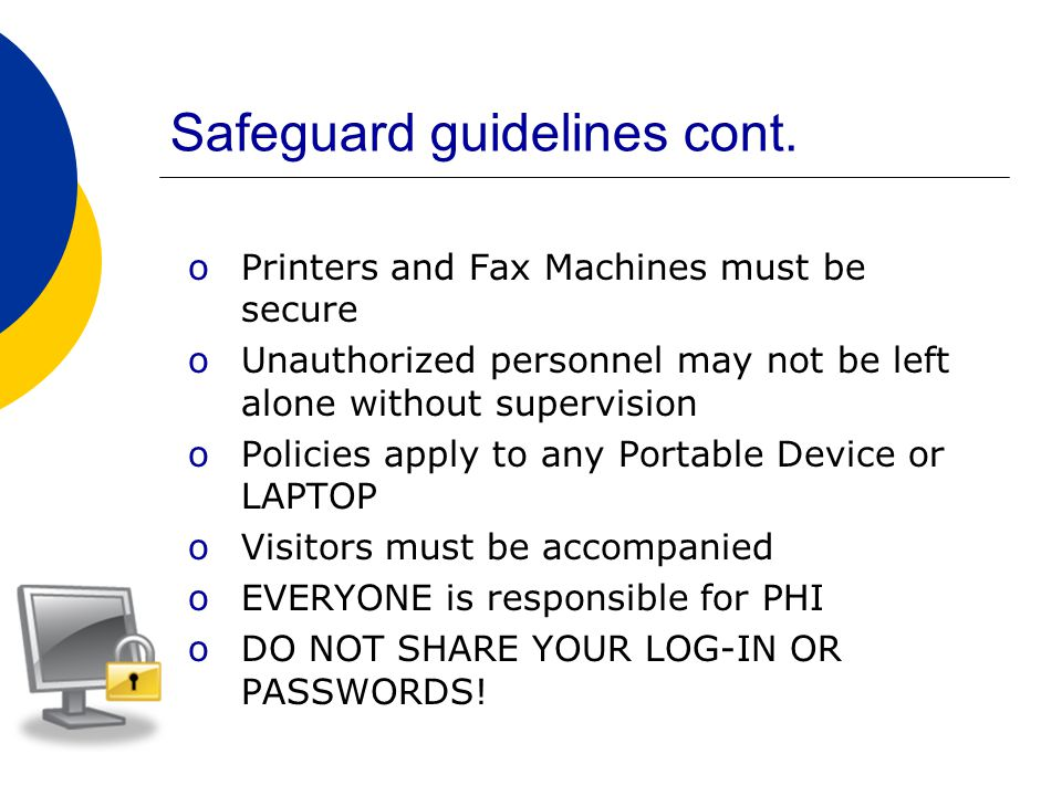 Safeguard guidelines cont.