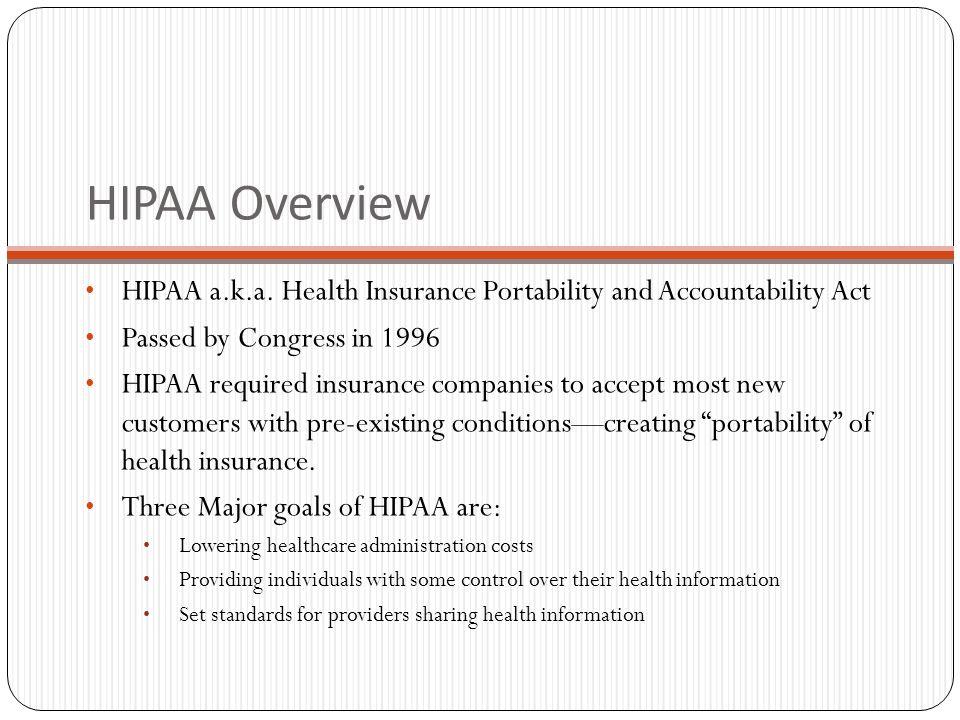 HIPAA Overview HIPAA a.k.a.