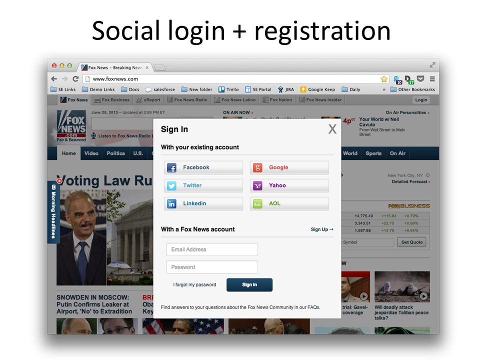 Social login + registration
