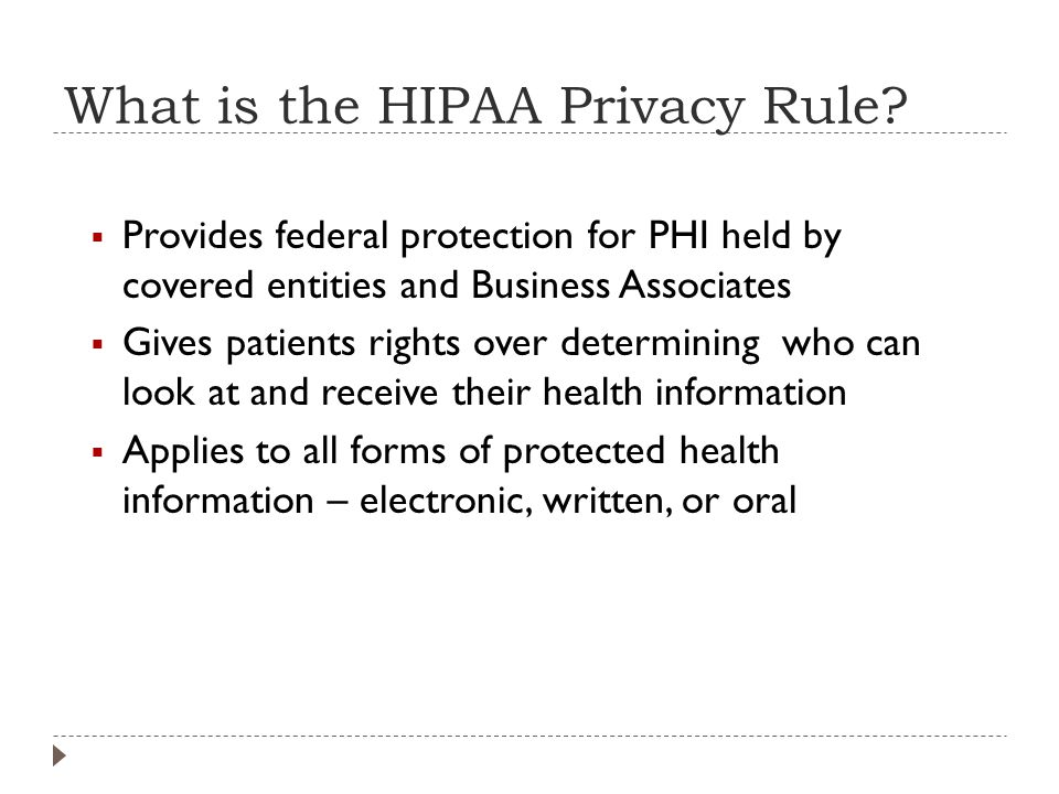 What is the HIPAA Privacy Rule.