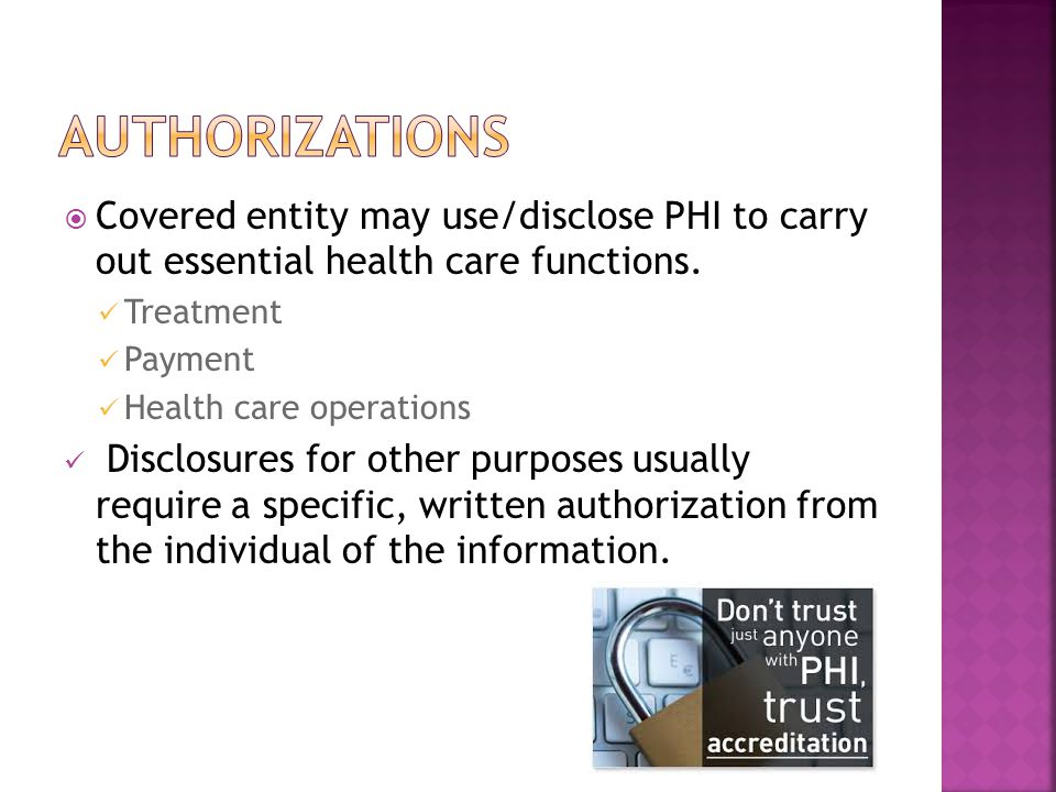  Covered entity may use/disclose PHI to carry out essential health care functions.