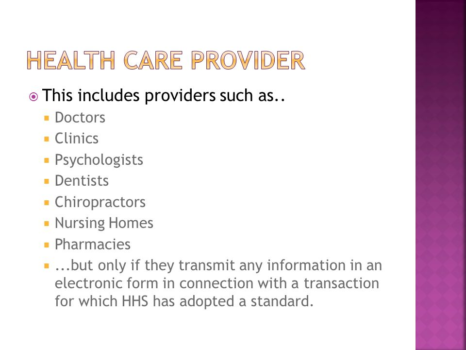  This includes providers such as..