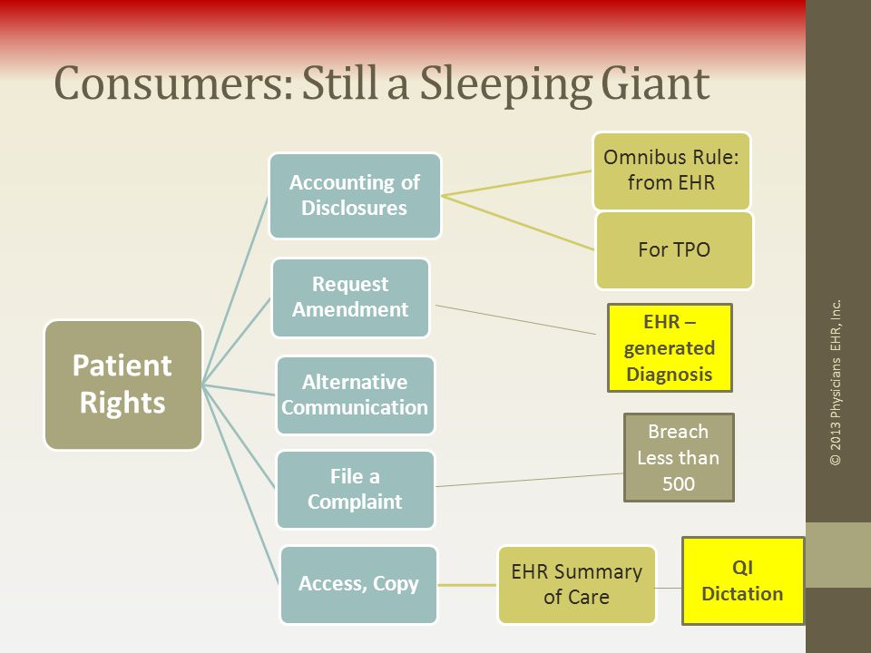 Consumers: Still a Sleeping Giant Patient Rights Accounting of Disclosures Omnibus Rule: from EHR For TPO Request Amendment Alternative Communication