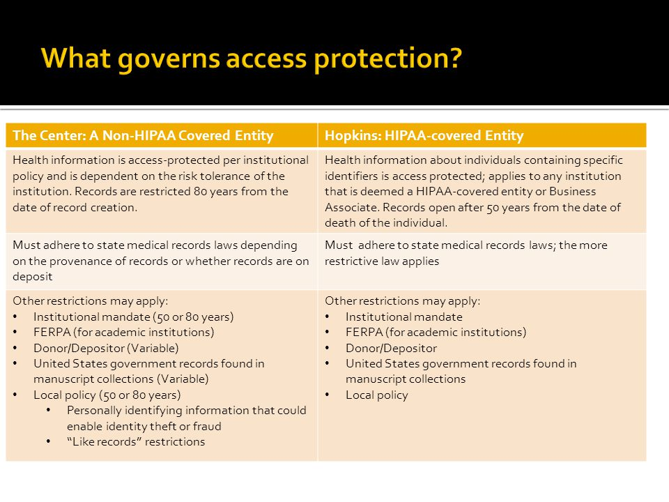 The Center: A Non-HIPAA Covered EntityHopkins: HIPAA-covered Entity Health information is access-protected per institutional policy and is dependent on the risk tolerance of the institution.
