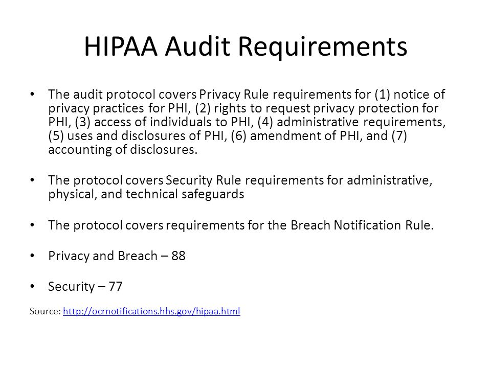 HIPAA Audit Requirements The audit protocol covers Privacy Rule requirements for (1) notice of privacy practices for PHI, (2) rights to request privacy protection for PHI, (3) access of individuals to PHI, (4) administrative requirements, (5) uses and disclosures of PHI, (6) amendment of PHI, and (7) accounting of disclosures.
