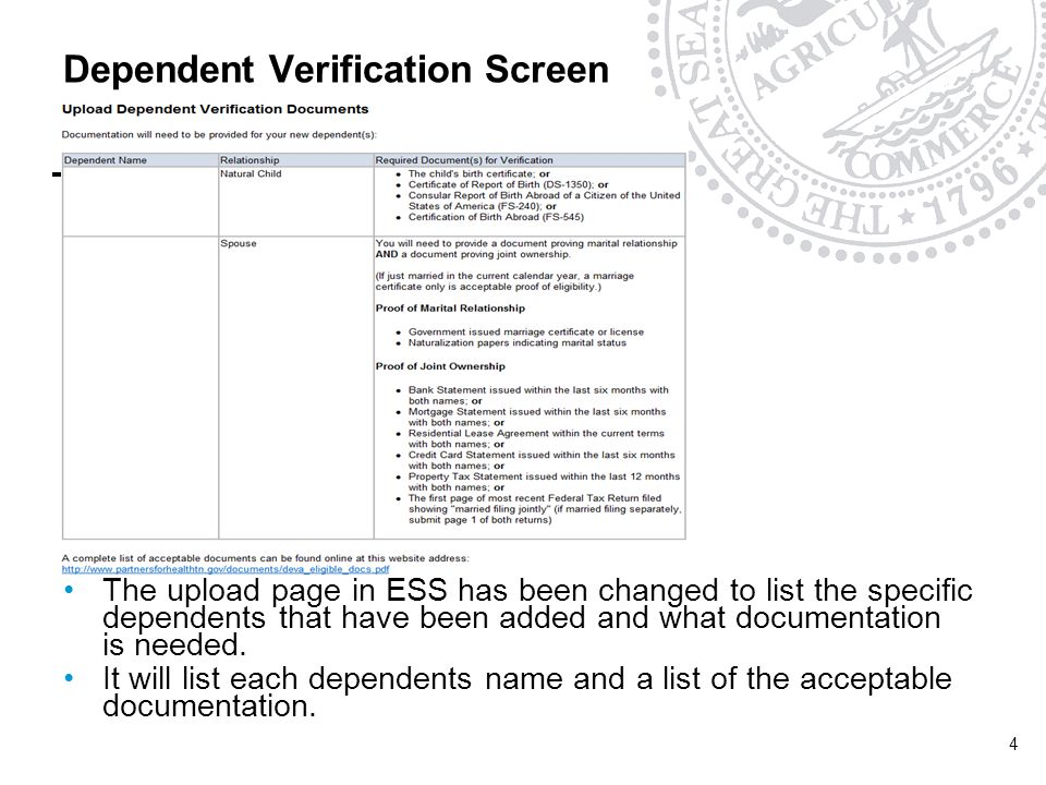 Dependent Verification Screen The upload page in ESS has been changed to list the specific dependents that have been added and what documentation is needed.