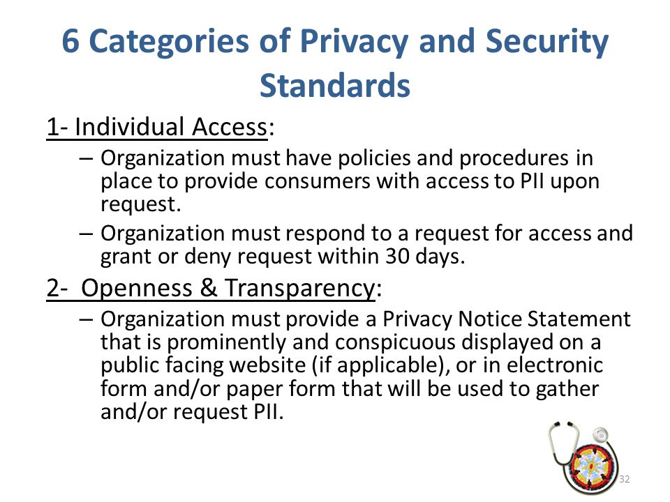 6 Categories of Privacy and Security Standards 1- Individual Access: – Organization must have policies and procedures in place to provide consumers wi