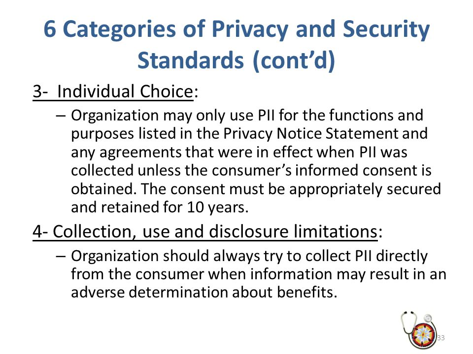 6 Categories of Privacy and Security Standards (cont'd) 3- Individual Choice: – Organization may only use PII for the functions and purposes listed in